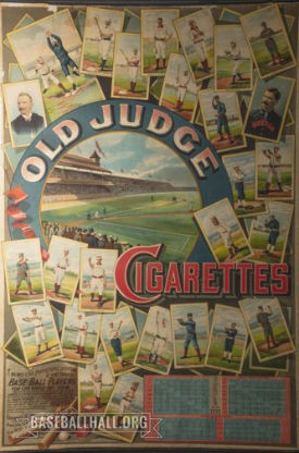 This poster was produced in 1888, a year that marked considerable growth for the production of Old Judge cards. (National Baseball Hall of Fame and Museum)