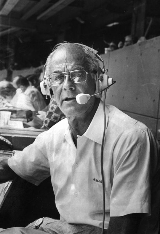 After retiring from baseball for a number of years, Steve Blass returned to the game and worked alongside Bob Prince, pictured above, on the Pirates' TV broadcasts. (National Baseball Hall of Fame and Museum)