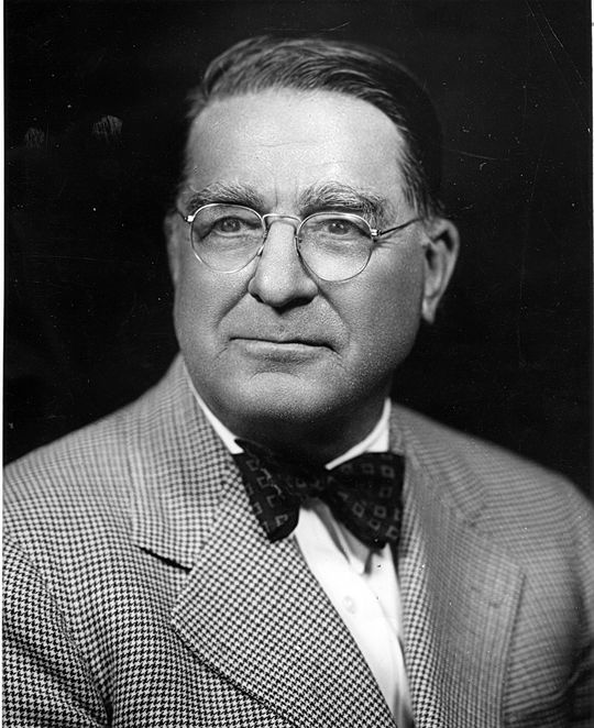 "Branch Rickey (pictured above) was concerned with the public's perception of those who did not serve as they would be distinguishable from colleagues who were sporting the ""ruptured duck"" patch (National Baseball Hall of Fame and Museum)"