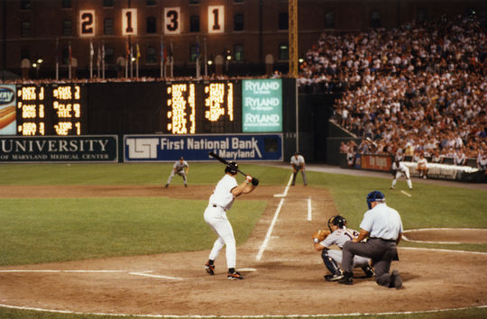 Cal Ripken at bat for the Baltimore Orioles during his 2,131st consecutive game played on Sept. 6, 1995. (Richard Lasner/National Baseball Hall of Fame and Museum)