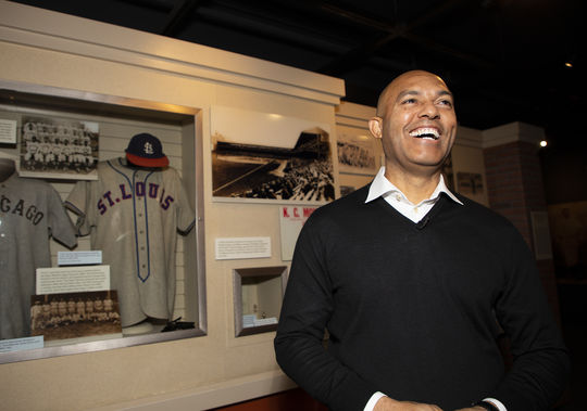 Mariano Rivera chuckles during his tour of the National Baseball Hall of Fame and Museum, part of his Orientation Visit as a newly-elected Hall of Famer. (Milo Stewart Jr./National Baseball Hall of Fame and Museum)