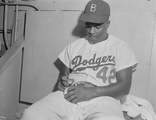 Jackie Robinson spent his entire Major League career with the Dodgers, where he was named to six All-Star teams, and won the Rookie of the Year Award in 1947 and NL MVP in 1949. (Osvaldo Salas/National Baseball Hall of Fame and Museum)