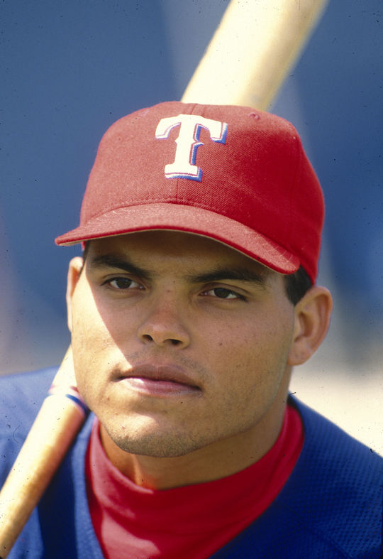 With his steal of second base against the White Sox on Aug. 14, 1999, Iván Rodríguez became the first major league catcher to collect at least 20 home runs and 20 stolen bases in a single season. (Rich Pilling/National Baseball Hall of Fame and Museum)