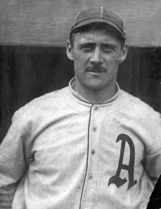 Wally Schang sported a mustache in 1914 while playing for the Philadelphia Athletics, but facial hair was largely frowned upon in the big leagues from the early 20th century until the 1970s. (National Baseball Hall of Fame and Museum)
