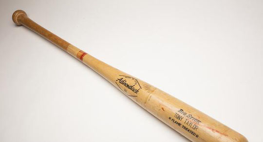 Mike Schmidt used this bat, which belonged to Phillies teammate Tony Taylor, to hit four home runs in one game on April 17, 1976, against the Cubs. (Milo Stewart Jr./National Baseball Hall of Fame and Museum)