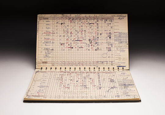 Pawtucket Red Sox official scorer Bill George kept this score book during the 33-inning game between the Red Sox and the Rochester Red Wings on April 18 and June 23, 1981. (Milo Stewart Jr./National Baseball Hall of Fame and Museum)