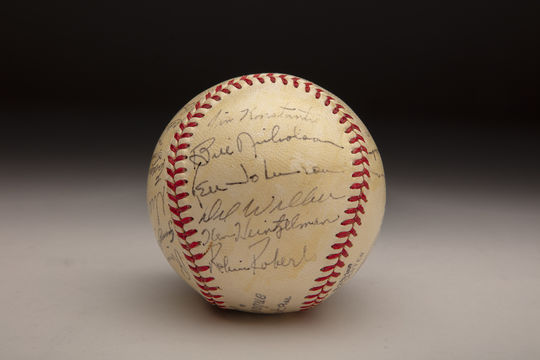 Thanks to a recent donation from Jim Konstanty's daughter, Helen Rees, the right-hander's memory will be permanently preserved in the Museum's collection. Among the items that were donated was this baseball, signed by members of the 1950 Phillies. (Milo Stewart Jr./National Baseball Hall of Fame and Museum)