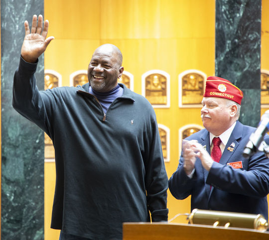 Lee Smith acknowledges the crowd at a March 29 event at the Hall of Fame honoring the 100th birthday of the American Legion. Smith played American Legion Baseball in Louisiana during the 1970s. (Milo Stewart Jr./National Baseball Hall of Fame and Museum)