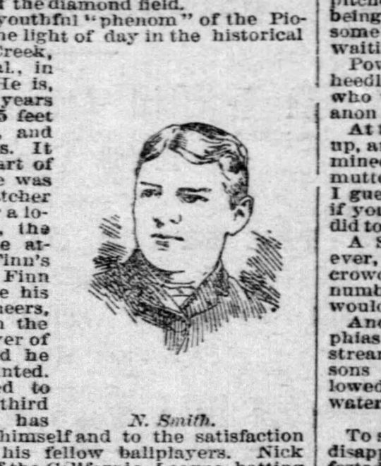A drawing of Nick Smith that appeared in the <em>San Francisco Examiner</em> on Nov. 21, 1887. (National Baseball Hall of Fame and Museum)