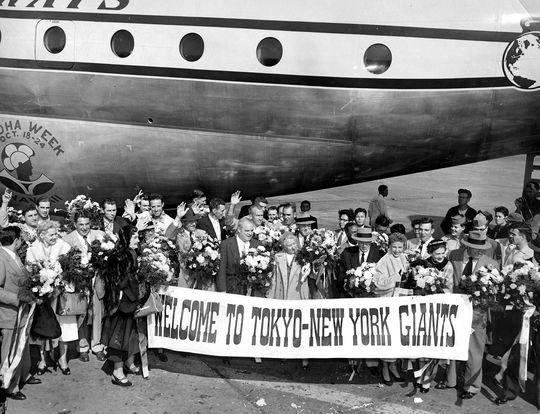 """The New York Giants were the first major league team to travel across the Pacific as part of a barnstorming tour.<a href=""""http://collection.baseballhall.org/islandora/object/islandora%3A273621"""">PASTIME</a> (National Baseball Hall of Fame)"""