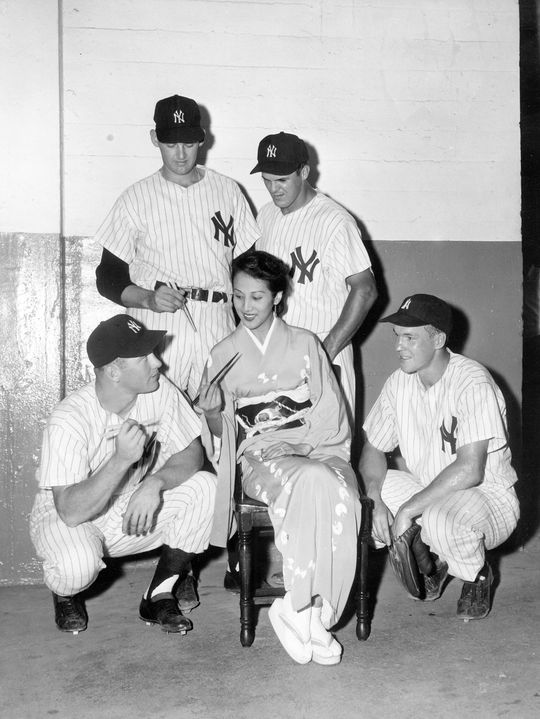 New York Yankees Mickey Mantle (bottom left), Don Larsen (top left), Moose Skowron (top right) and Gil McDougald (bottom right) on a tour of Japan in 1955. (National Baseball Hall of Fame)