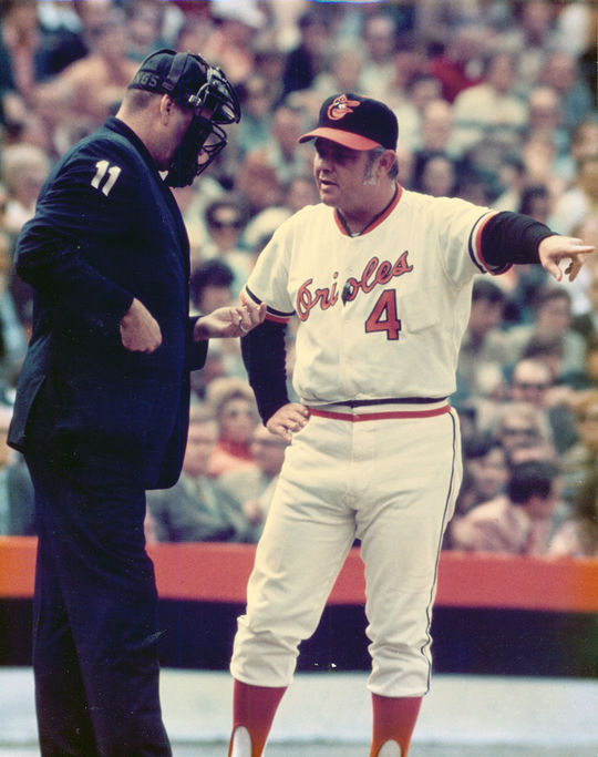 Earl Weaver began his managerial career in the big leagues on July 11, 1968, when he was named skipper of the Baltimore Orioles. (National Baseball Hall of Fame and Museum)