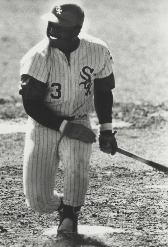 Walt Williams holding a bat in his Chicago White Sox uniform. BL-5431.72 (National Baseball Hall of Fame Library)