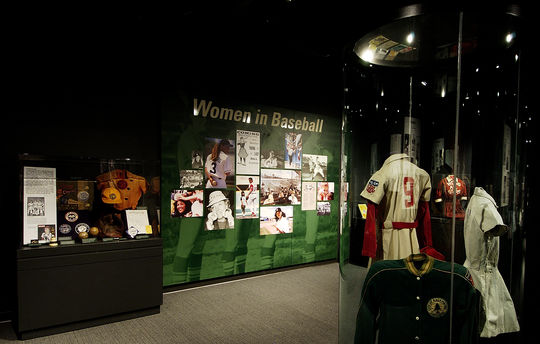 The Museum's <em>Women in Baseball</em> exhibit has been updated several times since it debuted in 1988. It remains one of the Hall of Fame's most popular exhibits. (Milo Stewart Jr./National Baseball Hall of Fame and Museum)