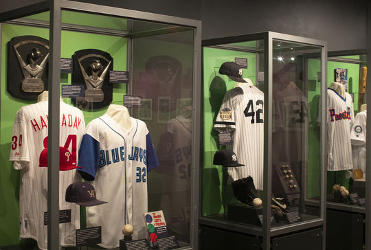 The 2019 <em>Inductees Exhibit</em> features artifacts from all six members of the Class of 2019. (Milo Stewart Jr./National Baseball Hall of Fame and Museum)