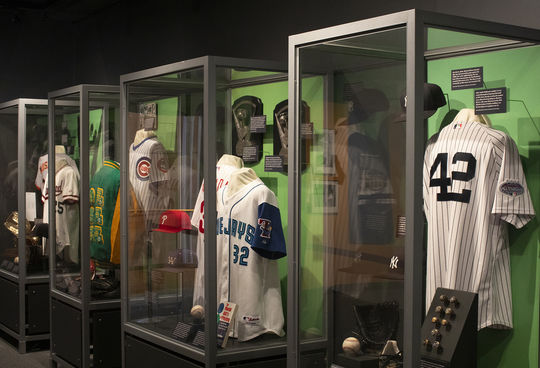 Artifacts from Harold Baines, Roy Halladay, Mike Mussina, Lee Smith, Edgar Martinez and Mariano Rivera are featured in the Class of 2019 <em>Inductees Exhibit,</em> which is featured on the Museum's third floor. (Milo Stewart Jr./National Baseball Hall of Fame and Museum)