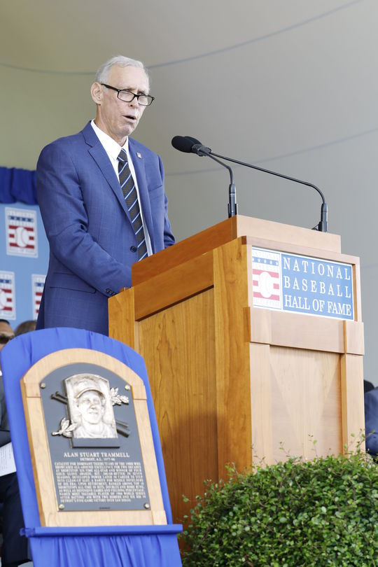 A Tiger for life, Alan Trammell shared his appreciation of the support of former teammates, executives and fans during his Induction Speech. (Milo Stewart Jr./National Baseball Hall of Fame and Museum)