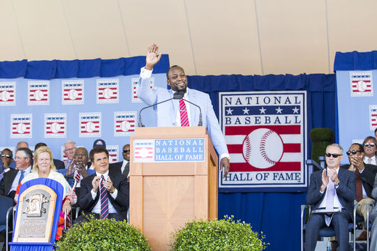 When Vladimir Guerrero was inducted into the Hall of Fame in 2018, José Mota acted as his translator. (Milo Stewart Jr./National Baseball Hall of Fame and Museum)