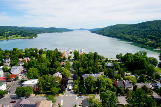 The village of Cooperstown is located at the southern end of Otsego Lake, pictured above. (Milo Stewart Jr./National Baseball Hall of Fame and Museum)