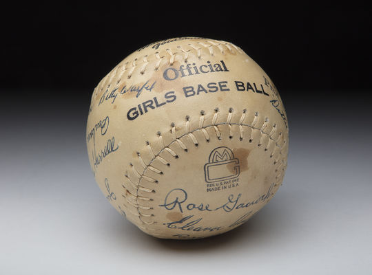 """Members of the 1948 Rockford Peaches, including Dottie Kamenshek, autographed this baseball, now preserved in the Hall of Fame collection. <a href=""""https://admin.baseballhall.org/node/add/hof-image"""">PASTIME</a> (Milo Stewart Jr./National Baseball Hall of Fame and Museum)"""