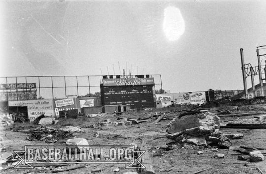Ebbets Field in the midst of its demolition, taken in approximately 1959. (Sam Stein)
