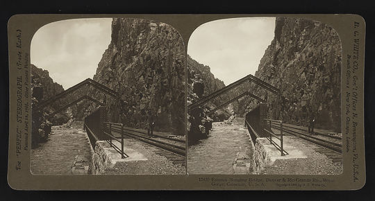 The Royal Gorge Hanging Bridge, located along the Arkansas River in Fremont County, Colo., was completed in 1879 and was considered a feat of structural engineering. (Courtesy of the Library of Congress)