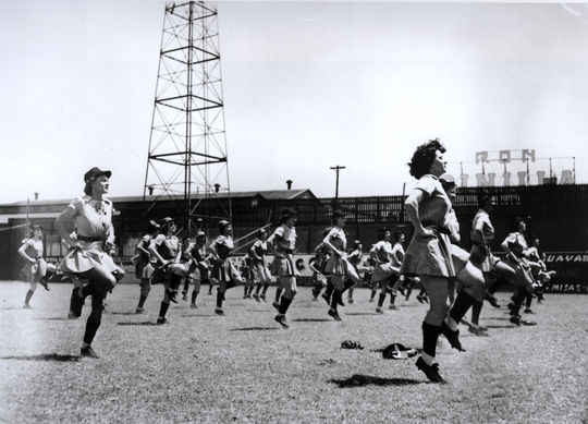 """Players in the AAGPBL loosening up at spring training at """"The Gran"""" in Havana, Cuba, 1947. - BL-3302.98 (National Baseball Hall of Fame Library)"""