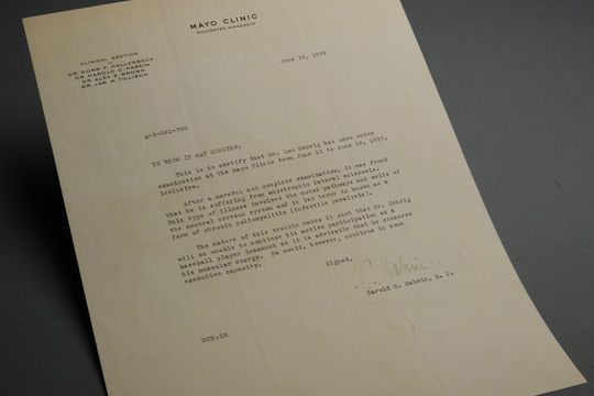 Letter from Dr. Harlod Habein of the Mayo Clinic to report on Lou Gehrig's examination, revealing ALS - BL-1010-2001 (Milo Stewart Jr./National Baseball Hall of Fame Library)