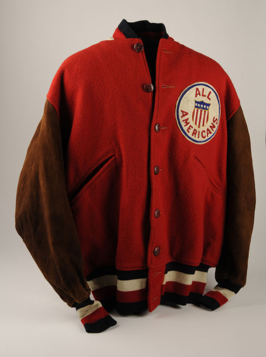 Moe Berg wore this official tour warm-up jacket throughout the American club's travels in the fall of 1934, from cool October days spent onboard ship to December contests at the tour's final stop in the Philippines - B-140-78 (Milo Stewart, Jr./National Baseball Hall of Fame Library)
