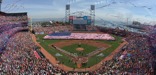 A view of AT&T Park during the National Anthem on Opening Day before a game between the Arizona Diamondbacks and San Francisco Giants on April 8, 2014. 477579863BM (Brad Mangin / National Baseball Hall of Fame Library)