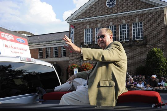 Red Schoendienst was elected to the Hall of Fame in 1989. Above, Schoendienst waves to fans during the Hall of Fame Parade in 2011. (Milo Stewart Jr./National Baseball Hall of Fame and Museum)