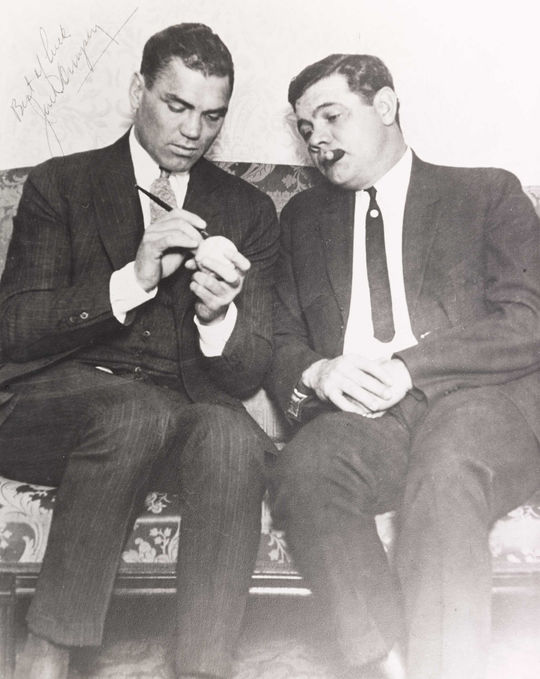 "As two of the top athletes in their respective sports, Jack Dempsey and Babe Ruth were celebrities of their time. <a href=""https://collection.baseballhall.org/islandora/object/islandora%3A632749"">PASTIME</a> (National Baseball Hall of Fame and Museum)"