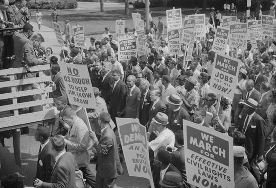 Civil Rights demonstrations like this one in Washington, D.C., were common in the 1950s and '60s. (Library of Congress)